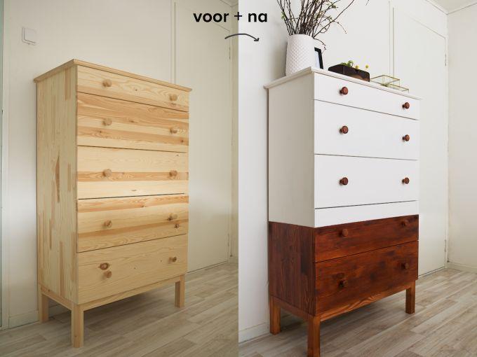 In plaats van een oud meubel op te pimpen, een nieuwe #ikea kast een oude look geven! Met een fris #krijtverf kleurtje maak je een eigen unieke kast (ook al is de kast van Ikea)