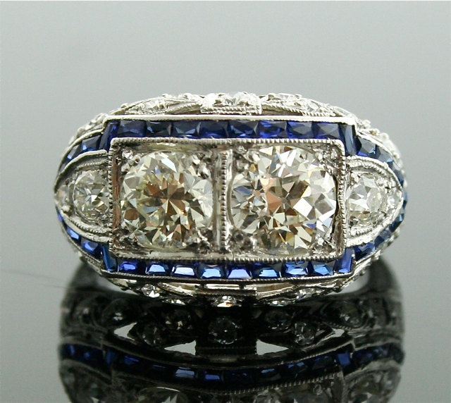 1920s Diamond Ring - Art Deco Diamond and Sapphire Ring: 15 500 00, Sapphire Rings, Diamond Rings, 1920S Diamonds, Blue Sapphire, Diamonds Rings, Vintage Diamonds, Art Deco Diamonds, Rings Art