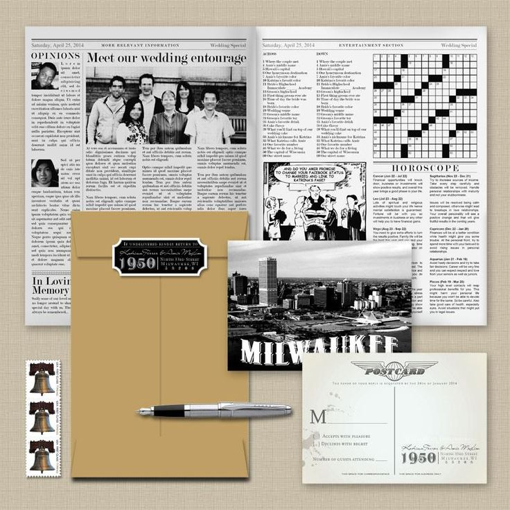 April Twenty Five - The Louise Wedding Gazette Newspaper Wedding Invitation