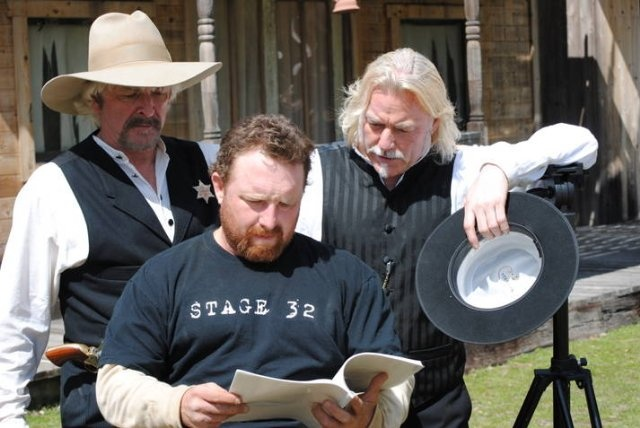 """(actor) Dale Ostrander, (co-producer/lead actor) Travis James Campbell, (producer/director/screenwriter/lead actor ) Kevan Paul Hewett on the set of """"The  Protagonist""""  in Vallecito, Ca. Special thanks to Stage 32 president and co-founder Curt Blakeney."""