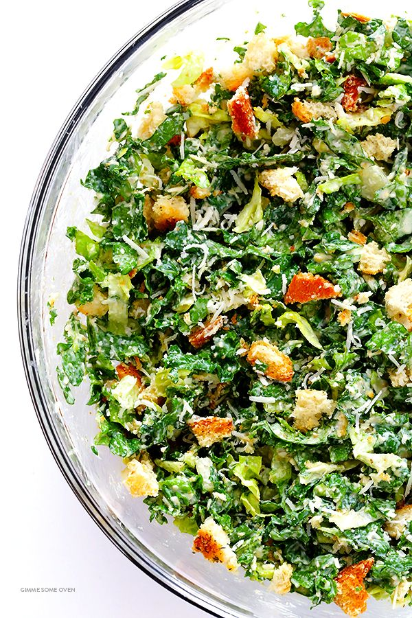 Kale Caesar Salad -- made with a lighter and delicious lime Caesar dressing   gimmesomeoven.com