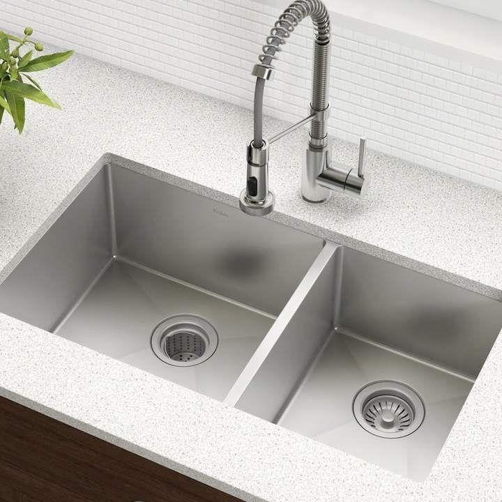 Standart Pro 33 L X 19 W Double Basin Undermount Kitchen Sink With Basket Strainer Best Kitchen Sinks Undermount Kitchen Sinks Stainless Steel Kitchen Sink