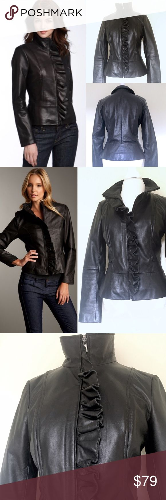 "❤TAHARI Perry Black Ruffle Lambskin Leather Jacket TAHARI Perry Black Ruffle-Front Lambskin Leather Scuba Jacket. $595 new. Size M. NWOT(2big4me!), no flaws, pet/smoke free home. Lush ruffle adds romance to sleek, supple leather sculpted w/expert seaming+topped w/chic stand collar. Mid-weight, supple soft lambskin leather; asymmetrical zip front placket w/ruffle trim, princess seaming@bust w/on-seam zippered pockets, long sleeves, fully lined. Measures flat approx L:22"", Underarm2cuff…"