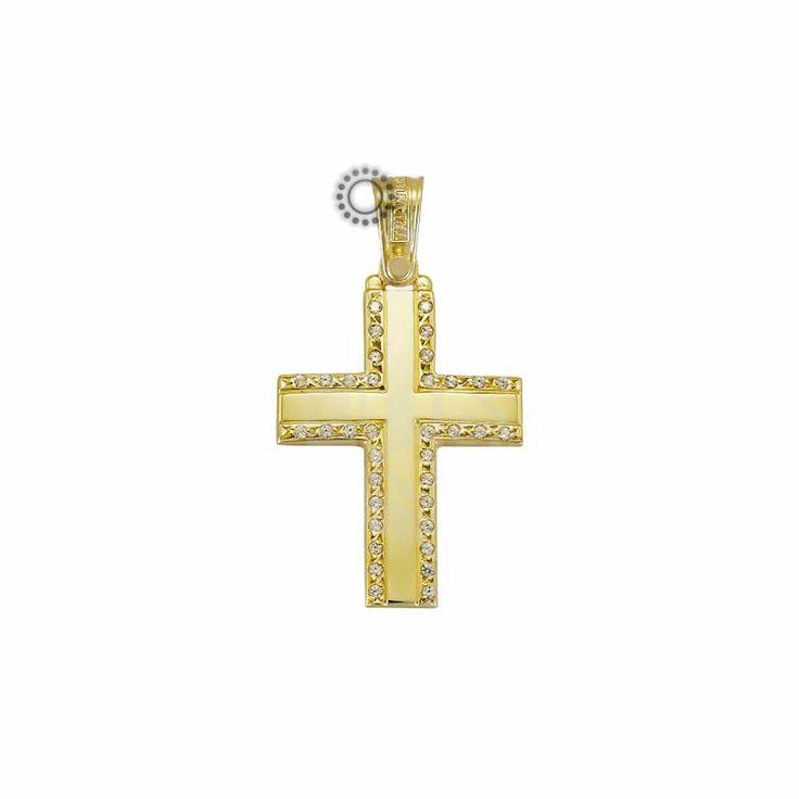 Μοντέρνος και απλός βαπτιστικός σταυρός για κορίτσι ΤΡΙΑΝΤΟΣ από χρυσό Κ14 με διακριτικά ζιργκόν στα άκρα | Βαπτιστικοί σταυροί ΤΣΑΛΔΑΡΗΣ στο Χαλάνδρι #τριάντος #βαπτιστικοί #σταυροί #κορίτσια