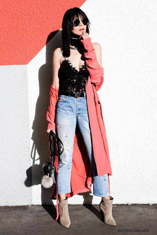 festival outfit, summer outfit, spring outfit, casual outfit, comfy outfit, boho chic outfit, boho outfit - coral trench coat, black lace crop top, crop jeans, beige suede booties, black shoulder bag, beige pom pom keychain, round sunglasses