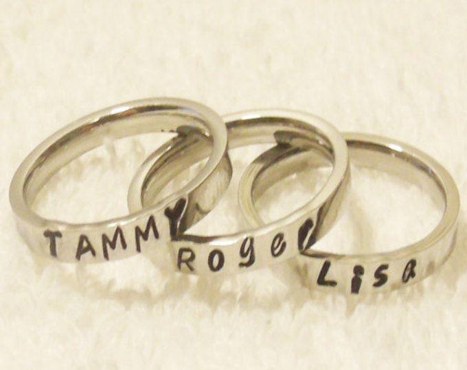 Nombre anillo de apilamiento, personalizado anillo apilable, nombre personalizado, mano estampado, anillo inicial, madre anillo, anillo de 3mm (HSSR0001)