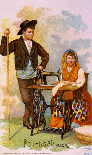 Unknown Artist - Sewing Machine Ad, Couple From Viana do Castelo, Portugal