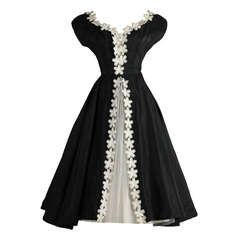 Vintage 1950's Black Taffeta White Macrame Flower Dress
