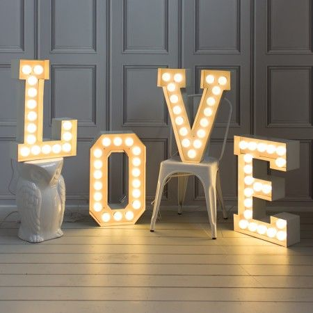 These spectacular metal letter lights have an array of LED bulbs which offer show-stopping style. Each letter has a standard UK plug and a switch on the flex.