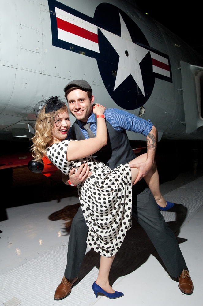 I would love to take a photo like this as a wedding invitation!!!     1940s Christmas Ball At Wings Over The Rockies Air And Space Museum Sells Out On Pearl Harbor Anniversary (PHOTOS)