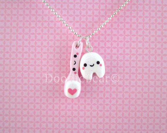 Tooth and Toothbrush Set Kawaii Polymer Clay Pendant Necklace on Etsy, $14.00
