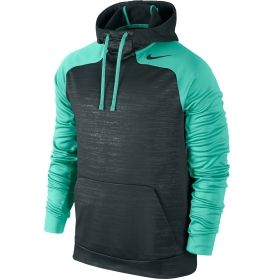 Take the day by storm in the Nike® Men's Hurricane Hoodie. This pull-on style features moisture-wicking Dri-FIT® fabric that pulls sweat away from the skin for cool, dry wear. An adjustable scuba hood offers extra warmth and protection against the elements, while raglan sleeves and underarm panels minimize restriction for a free range of motion. Set yourself apart when you hit the gym in the Hurricane hoodie.