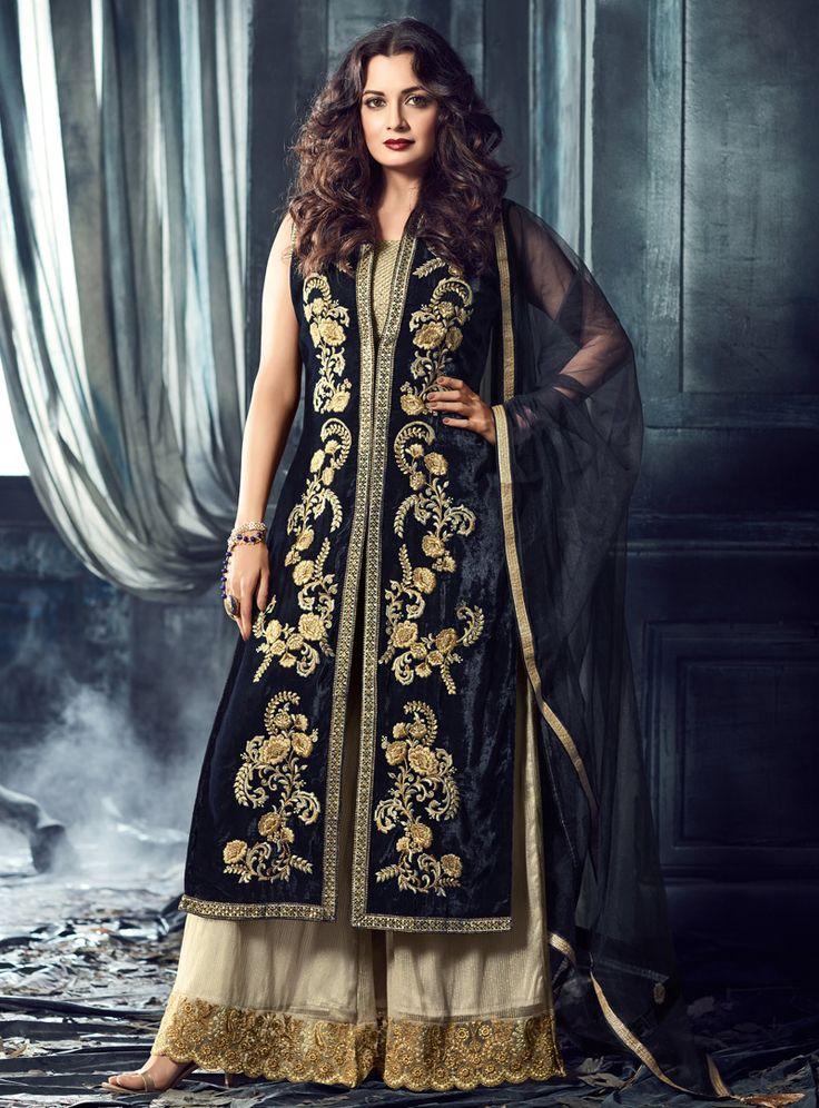 Dia Mirza Navy Blue Velvet Palazzo Style Salwar Suit 107983