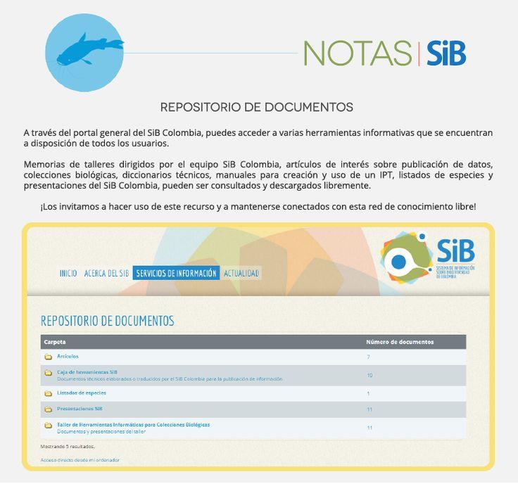 Sección de repositorio de documentos en el portal general del SiB