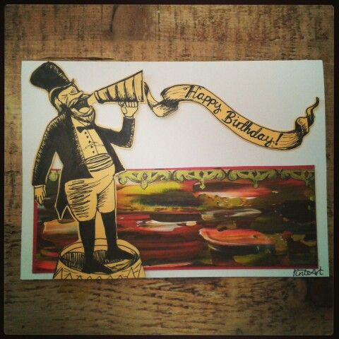 Carnival collection, ringmaster. Hand painted and sketched with acrylics and pen and ink.