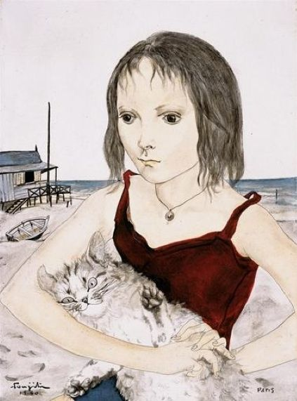 Tsuguharu Foujita (1886-1968), 1950, Young girl with a cat on the beach, oil and India ink on canvas.