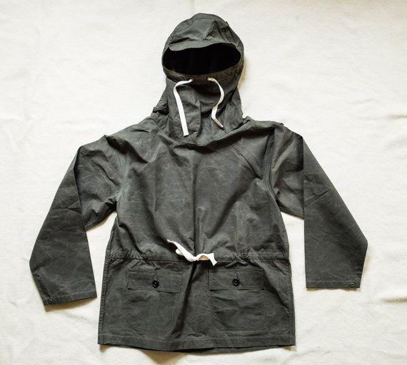 Olive Waxed Cotton Anorak Smock Pullover Parka Jacket by Hawkwood Mercantile Styled like WW2 USN Deck RRL Nigel Cabourn Filson Hiking Biking