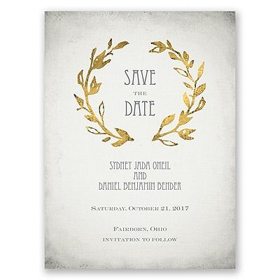 Grecian inspired gold save the date card. Choose shimmer paper or even make it a magnet, all online. From www.invitationsbydawn.com