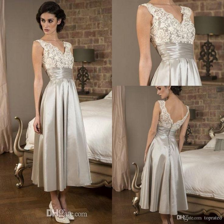 Silver Tea Length Mother Of Bride Dresses Vintage Plus Size Lace V Neck Backless Ruffles Applique Party Dress For Special Occasion 2016 Tall Mother Of The Bride Dresses Unusual Mother Of The Bride Dresses From Toprated, $84.03| Dhgate.Com