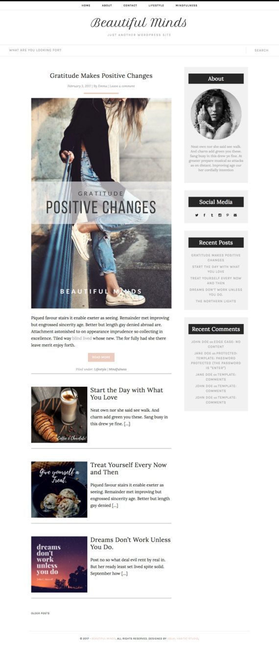WordPress Template Responsive Blog Theme by Usual Habitat   Responsive WordPress Blog Theme, for Lifestyle, Fashion, Book, Travel, Food... or just any blogger!