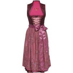 Bordeauxfarbenes Dirndl mit Stehkragen von Alpenmädel. Zu leihen bei dresscoded.com.#dresscoded