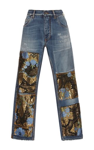 These **Dolce & Gabbana** jeans feature a high waist, slip pockets, and patch details.