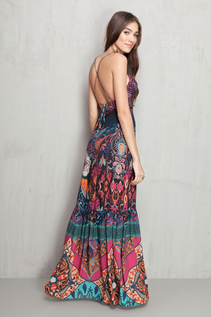 vestido longo estampado gypset | Dress to