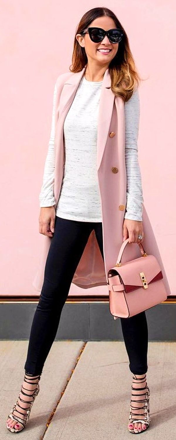 83cff702cf35f  winter  fashion   Pink Sleeveless Coat   White Knit   Black Skinny Jeans  Laced Up Pumps