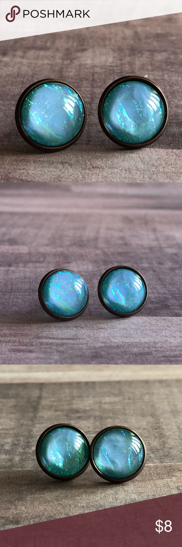 """🆕Baby Blue Opal Stone Copper Stud Earrings! New, Handmade by Me! Gorgeous Baby Blue Opal Stone in a Copper Post Back Style Earring. Stone Reflects Beautiful Colors in Different Lighting! Approx. 12mm or 1/2"""" Size; Can make in any Style Back Shown!📸These are my pic's of the Actual items!  ▶️1 For $8, 2 For $13, 3 For $15!◀️  ▪️3-$15 is only for items listed as such▪️ ▪️Post Back for Pierced Ears ▪️Nickel, Lead & Cadmium Free  *NO TRADES *Price is FIRM as Listed!  *Sales are Final-Please…"""