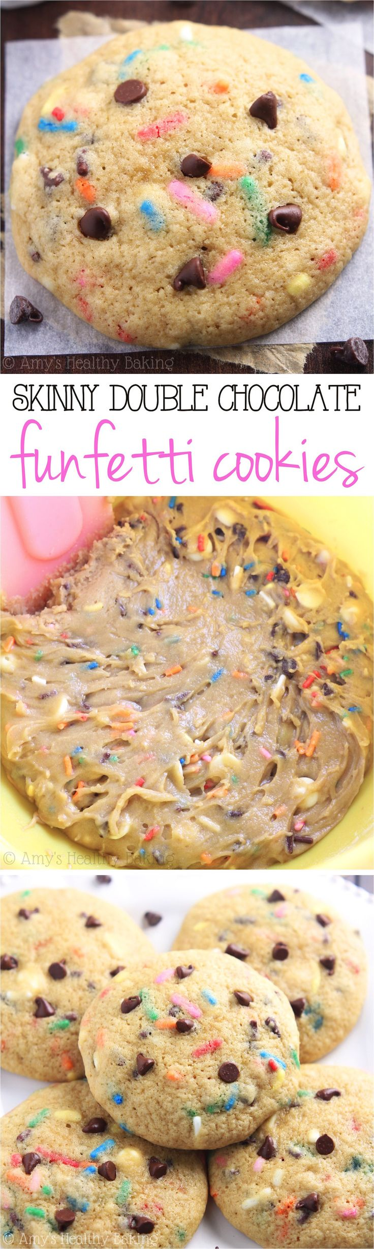 Chewy Double Chocolate Funfetti Cookies -- these skinny cookies don't taste healthy at all! You'll never need another funfetti cookie recipe again!