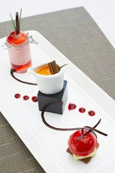 Lemony Cheesecake with Fresh Fruit, Creamy Chocolate Yogurt, Frosted Lime n' Lychee Crème ...