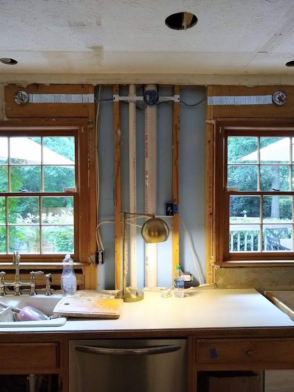 series: an 80's kitchen diy reno- {part 7- wiring for sconces thru a header  beam in 2020   diy kitchen, recessed lighting, sconces  pinterest