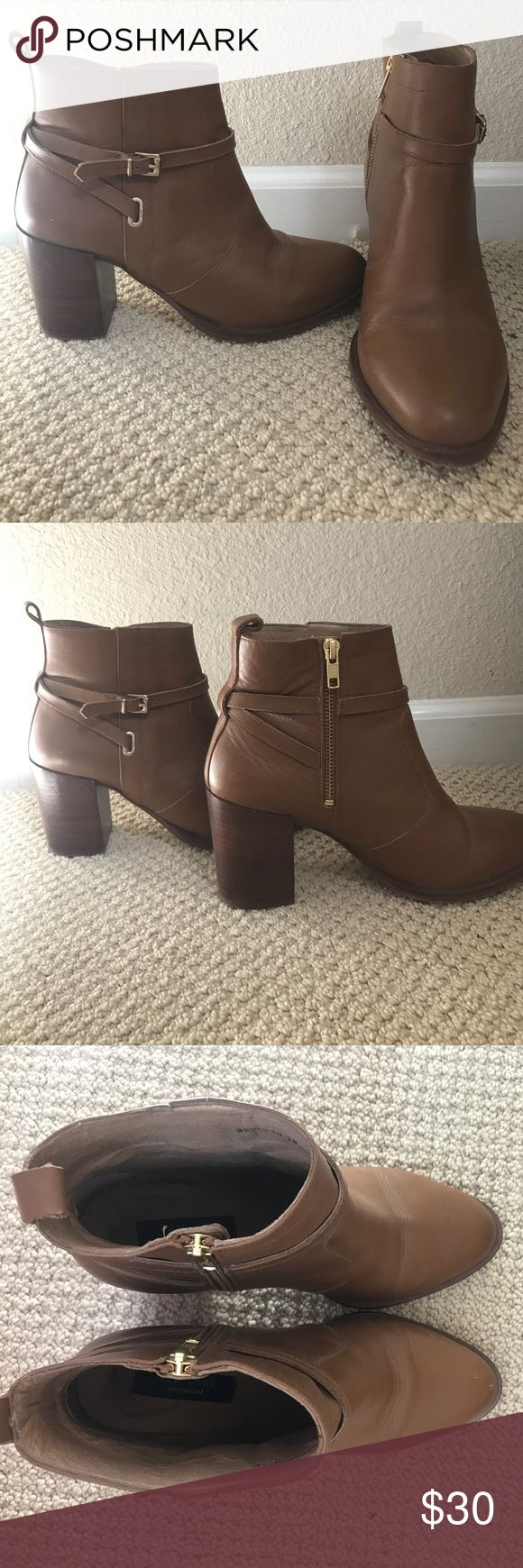 New Look Premium tan heeled booties Tan, heeled, booties with a zipper on the side. I have worn them a couple of times, but my feet are just barely too big for them. Size EU 40 UK 7 New Look Shoes Ankle Boots & Booties