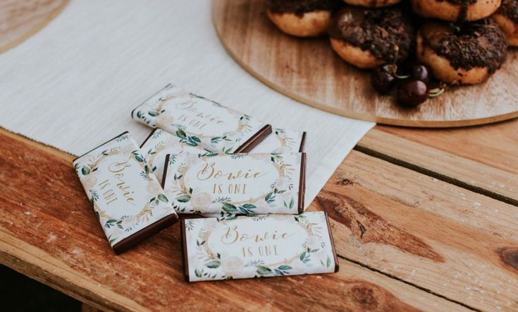 Customised chocolate bars from Print & Party (www.printandparty.com.au) for Bowie's First Birthday
