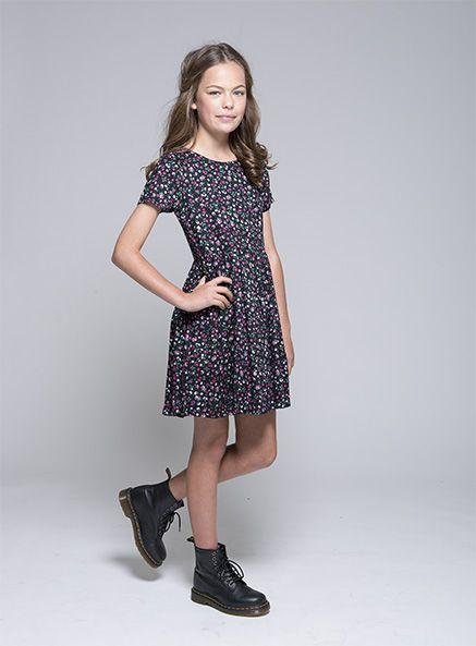 Pumpkin Patch - dresses - mini ditsy floral dress - W4UA80021 - jet black - 3xs-8yr to m-16yr