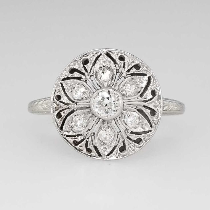 Edwardian Floral .36ct t.w. Old European Cut Diamond Filigree Ring 18k | Antique & Estate Jewelry | Jewelry Finds
