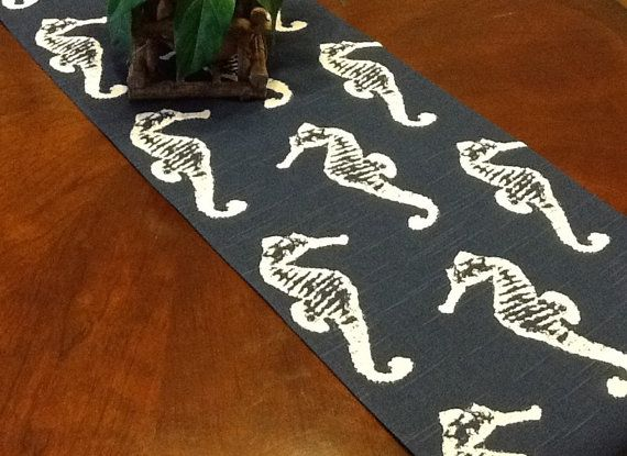 Table Runner Navy Blue And White Seahorse Table By Fourbugsinarug, $15.00