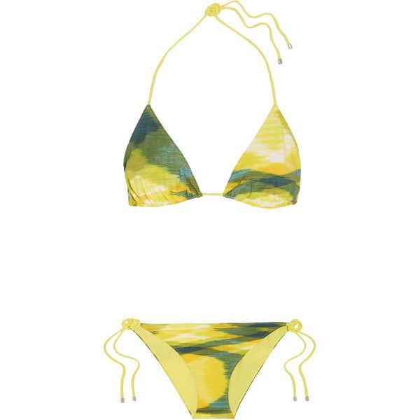 Missoni - Printed Triangle Bikini ($194) ❤ liked on Polyvore featuring swimwear, bikinis, yellow, triangle swim wear, neck ties, tie bikini, macrame bikini and bikini swimwear