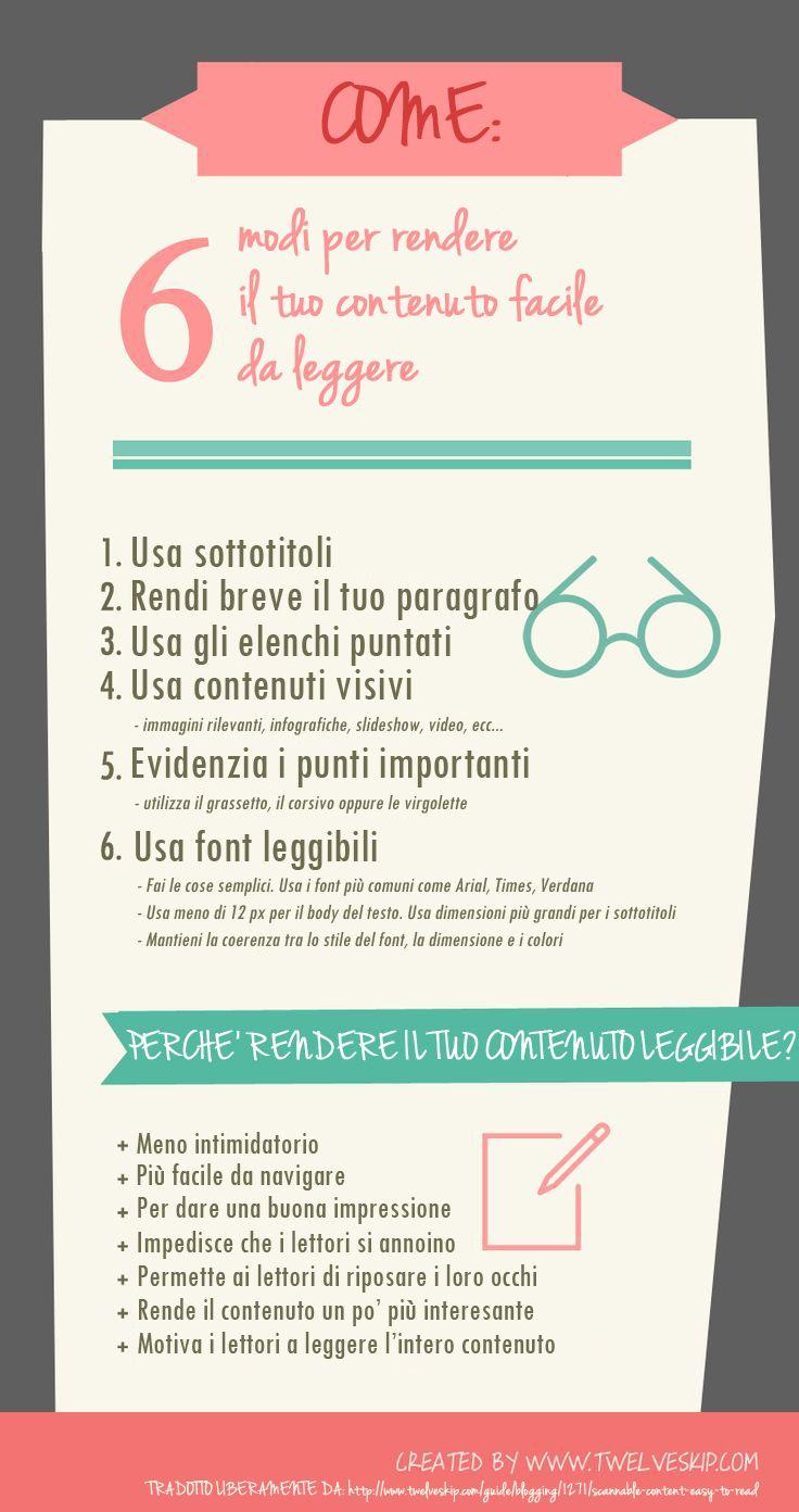 Come rendere i #contenuti di un sito web leggibili - #infografica liberamente tradotta da #1MinuteSite - Come Scrivere per il Web