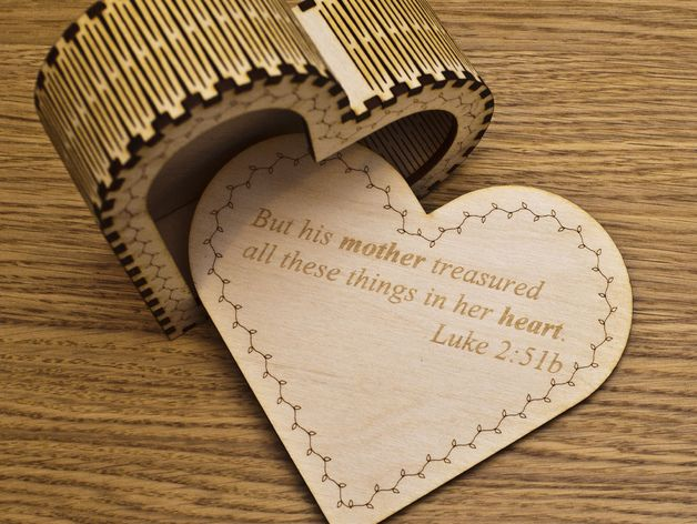 I designed and laser cut this heart shaped box for my Mum for Mothers Day back in 2013. It uses kerf bends / living hinges to bend the sides around the heart shape. Designed for 3mm plywood though the whole design can likely be scaled to suit other thicknesses of materials. Add your own text to the top and bottom surfaces for a personal touch. The Lid is held closed by the fit of the cut-out which is glued to the underside of the lid top (see fourth photo). Alternatively magnets could be…