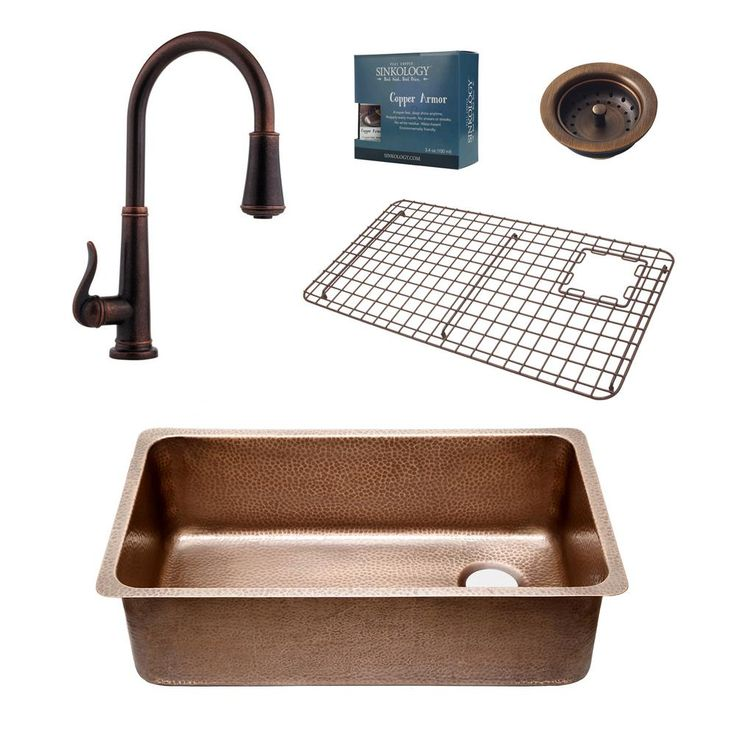 Pfister All-In-One Chef Series David 31-1/4 in. Undermount Copper Sink Combo with Ashfield Rustic Bronze Faucet, Antique Copper