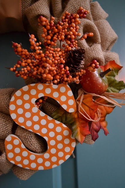 Cute colors for a  wooden letter… for a Fall burlap wreath.  Orange with white polka dots.