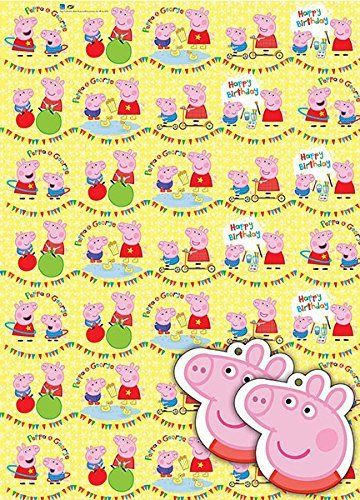 Peppa Pig Gift Wrap Pack X 2 Sheets, 2 Gift Tags >>> Visit the image link more details.