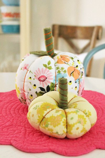Vintage Fabric Pumpkins-with links to free tutorials