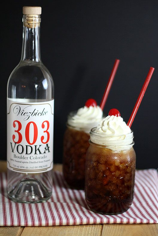 Adult Root Beer Floats: Root beer, vanilla vodka, dollop of vanilla ice cream or whipped cream.