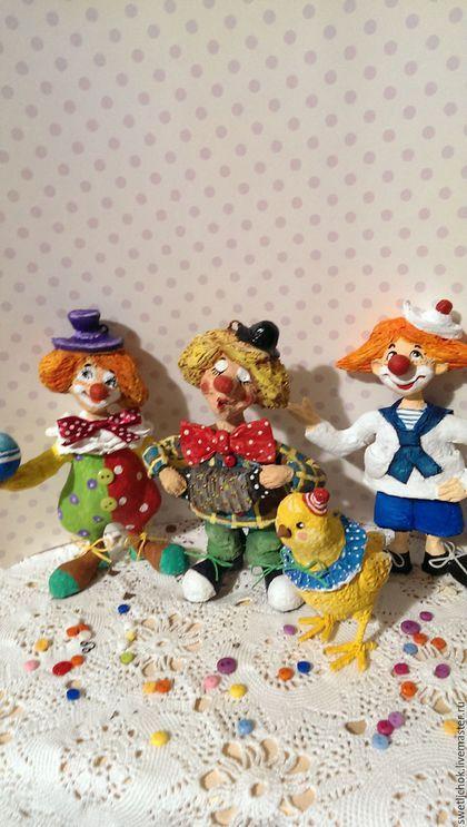 Человечки ручной работы. Ярмарка Мастеров - ручная работа. Купить Клоуны. Handmade. Комбинированный, цирк, ватное папье маше