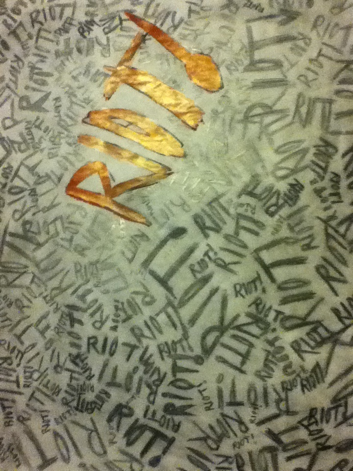 heres my drawing of the riot album poster from paramore