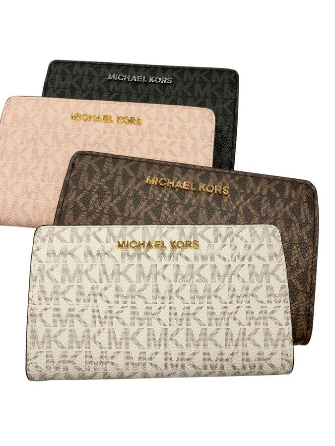 157147deb6bd Michael Kors Jet Set Travel Slim Bifold Wallet Brown Vanilla Pink Black MK# Set#Travel#Slim