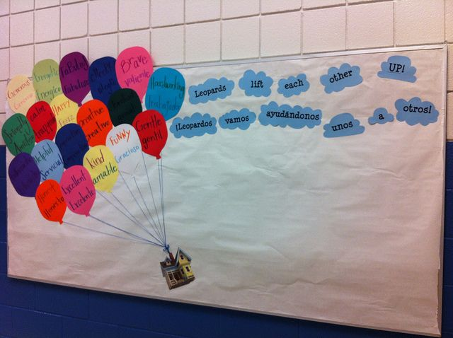 "Our ""Up"" themed bulletin board for No Name Calling Week. It says ""Leopards lift each other up!"" The balloons have compliment words in English and Spanish. Teachers and classmates can nominate a student who has shown kindness or respect. The nominations will be displayed on the board."