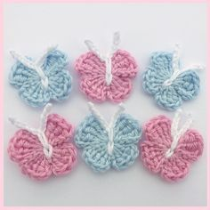 Crochet Applique Crochet Butterfly Sew on by CunningFoxCrafts